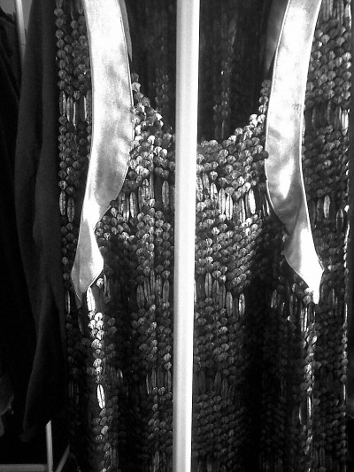 Frederick Hornof's embellished silver dress and skirt