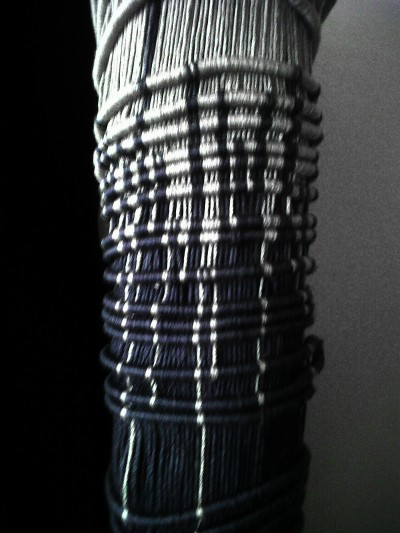 The sleeve of a macramé jacket by Jantine Van Peski